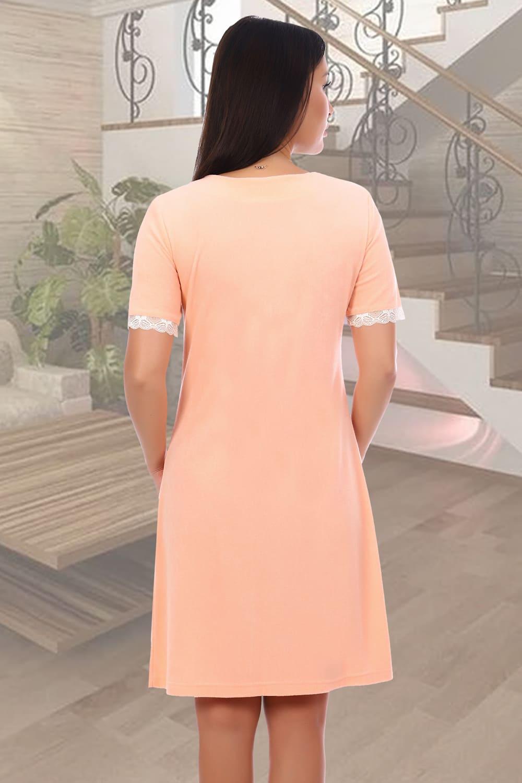Персиковый махровый халат Natali