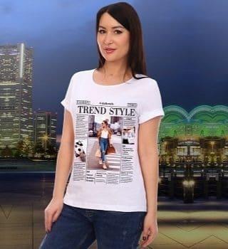 Белая футболка с модным принтом Natali