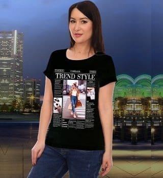 Черная футболка с модным принтом Natali