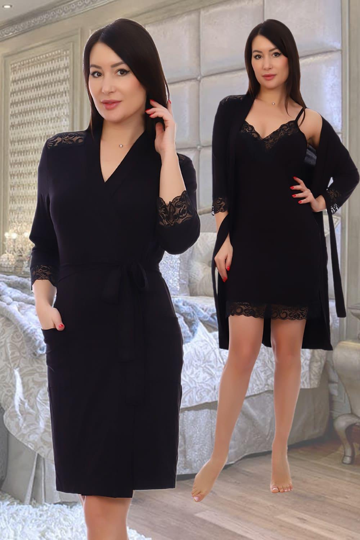 черный халат с кружевом