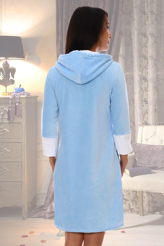 Велюровый халат на молнии с капюшоном