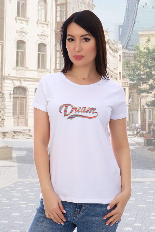 белоснежная  женская футболка с вышивкой