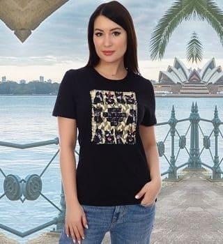 Черная футболка с аппликацией Natali