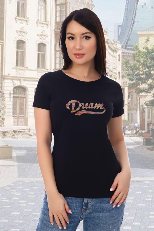 Черная футболка с вышивкой Dream