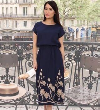льняное платье синие
