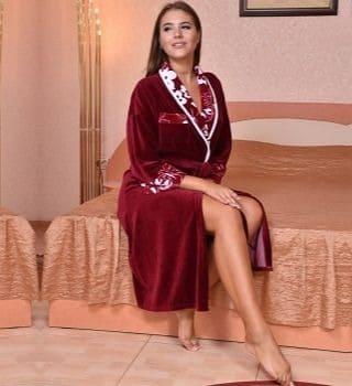 Бордовый велюровый халат Natali
