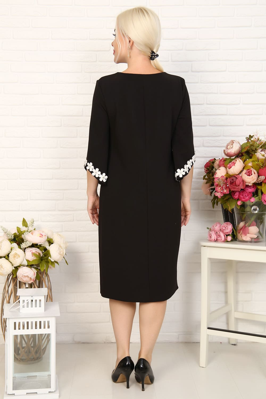 Платье черное с фигурными рукавами  Natali