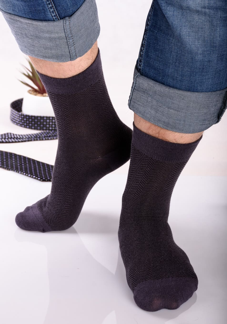 носки с узором елочка