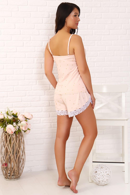 Персиковая пижама с шортами Natali