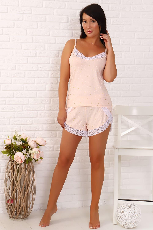 персиковая пижама с шортами