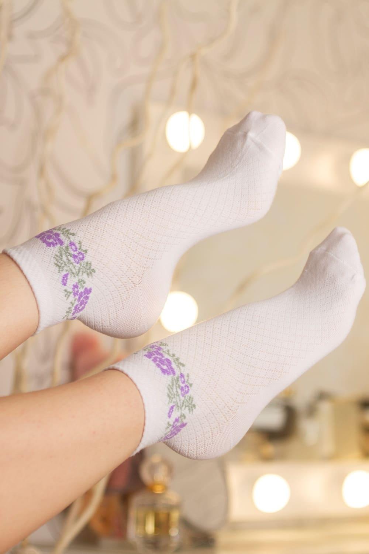 носки с цветочками