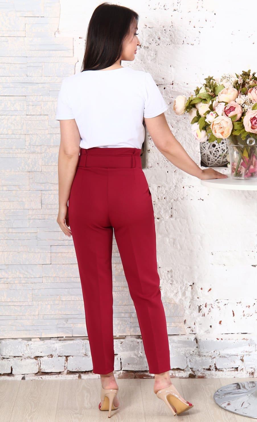 Бордовые брюки с высокой посадкой Natali