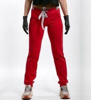 Красные брюки с манжетами
