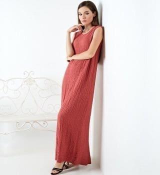 Терракотовое длинное платье TopDesign A20 048