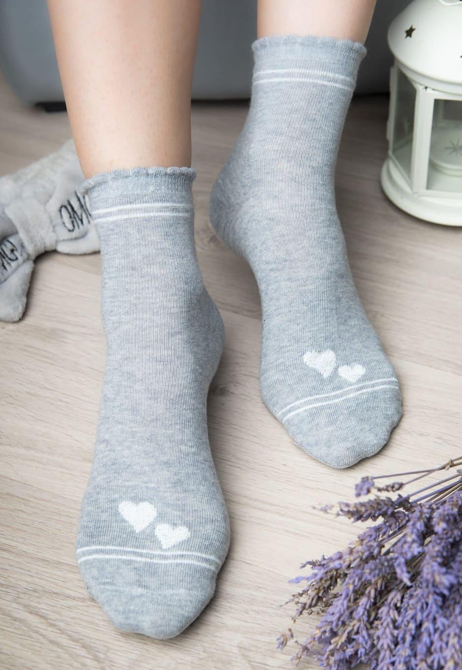 Женские носки с сердечками  - 6 пар.