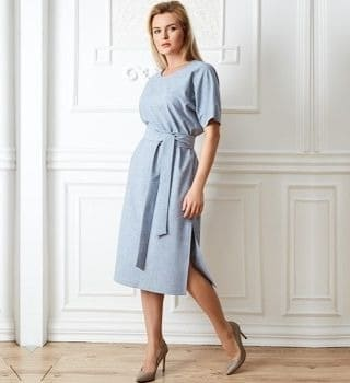 Голубое летнее платье TopDesign PA20 08
