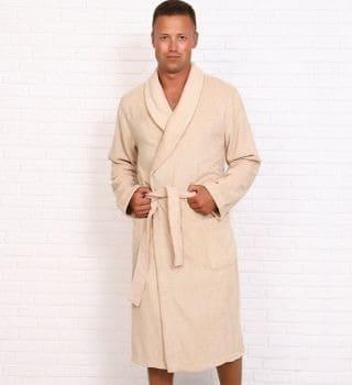 Бежевый махровый халат мужской