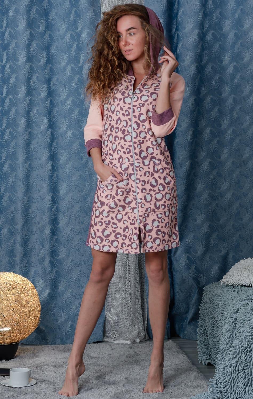 Короткий халат с капюшоном Natali 8003