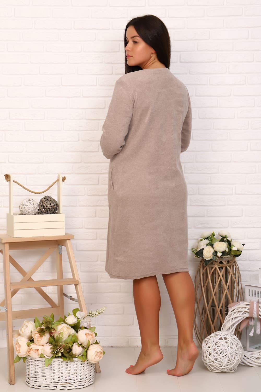 Махровый коричневый халат на пуговицах N4797