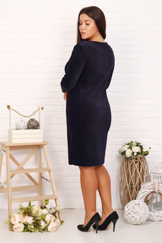 Темно-синие велюровое платье N3678