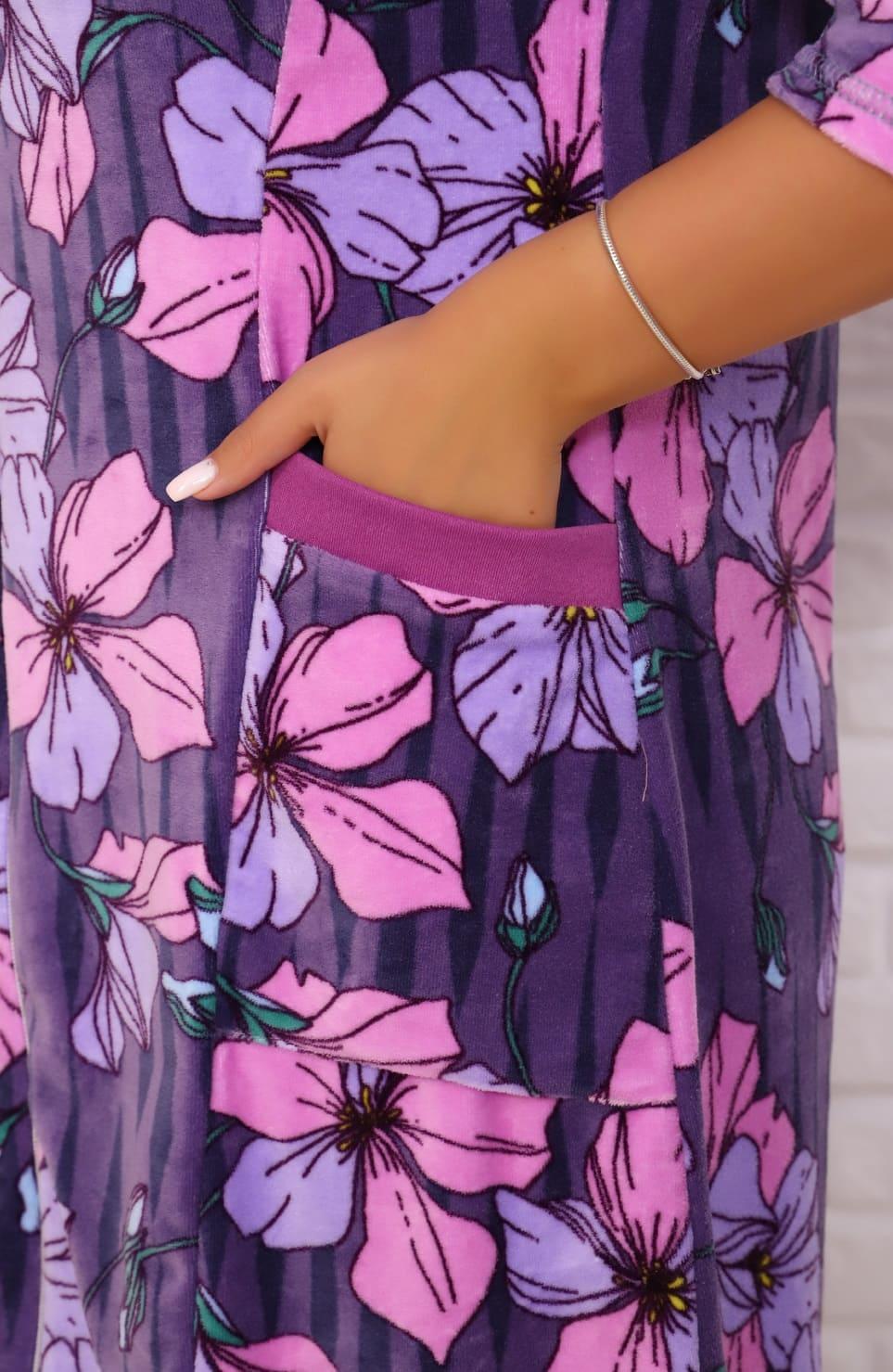 Велюровый халат с молнией Natali 6715