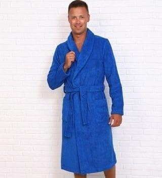 Ярко синий махровый халат