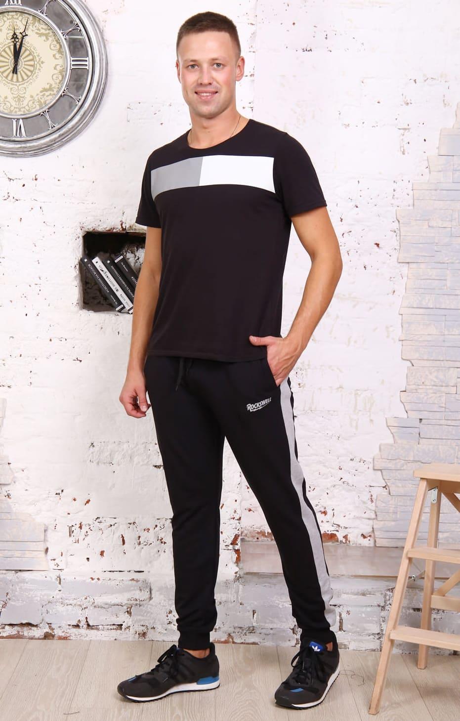 Черные брюки с серыми лампасами B26502