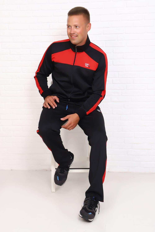 Черный костюм с красной отделкой B16505