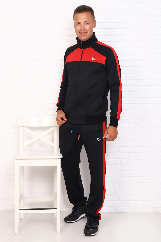 черный спортивный костюм с красными вставками
