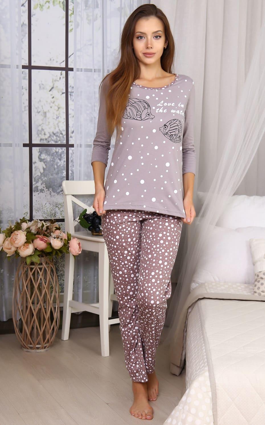 Светло-коричневая женская пижама N5949