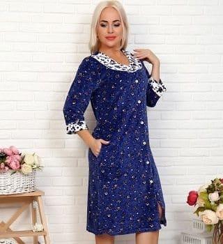 Велюровый женский халат N16517
