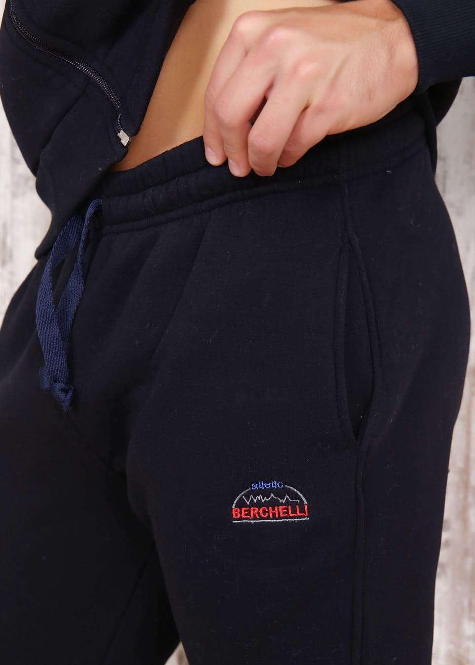 Теплый темно-синий спортивный костюм B5947