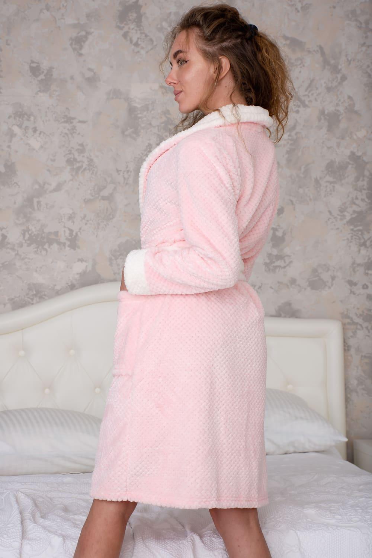 Домашний розовый халат N2442
