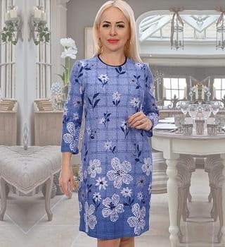 Голубое ежедневное  платье N3599