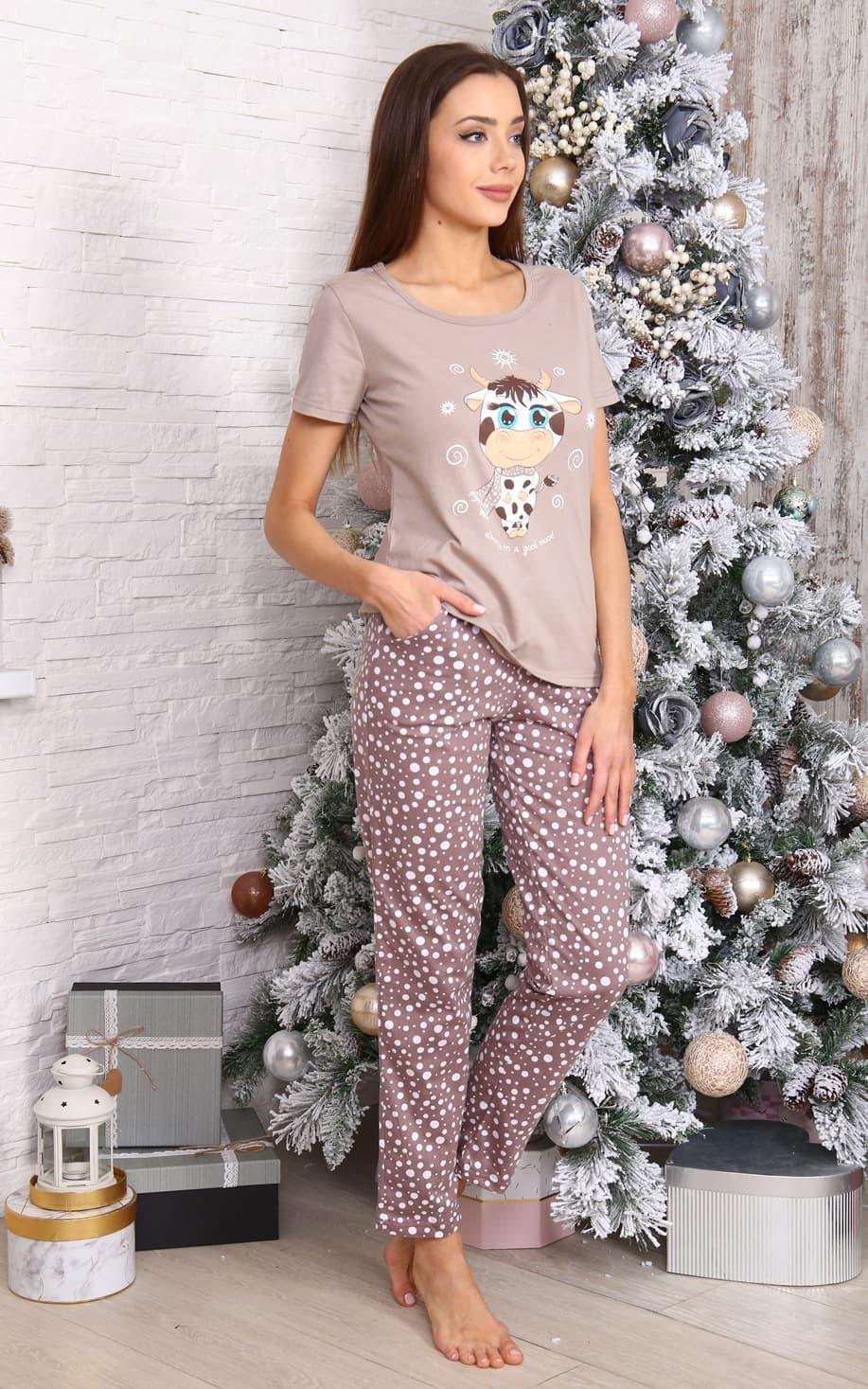 Светло-коричневая пижама с брюками 5954
