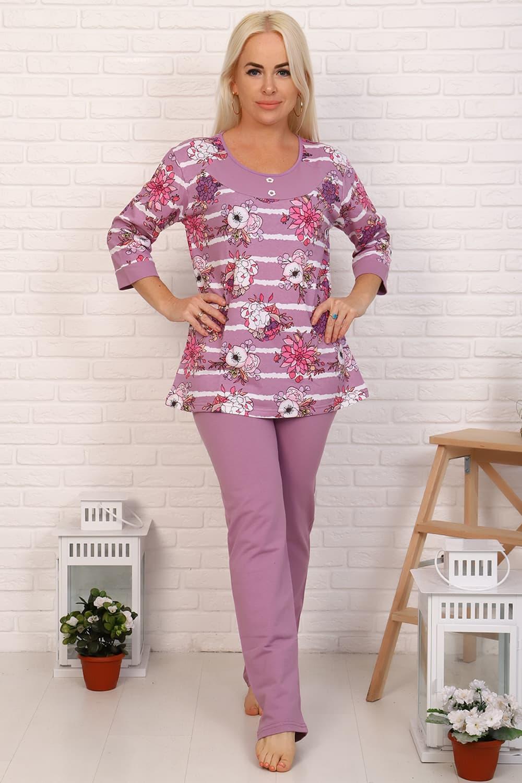 Фиолетовая теплая пижама с начесом