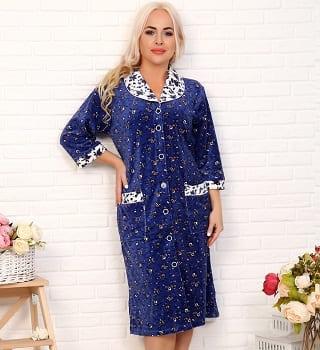 Велюровый дамский  халат N16519