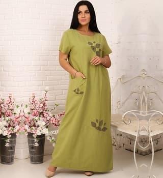 Фисташковое льняное платье макси  22160