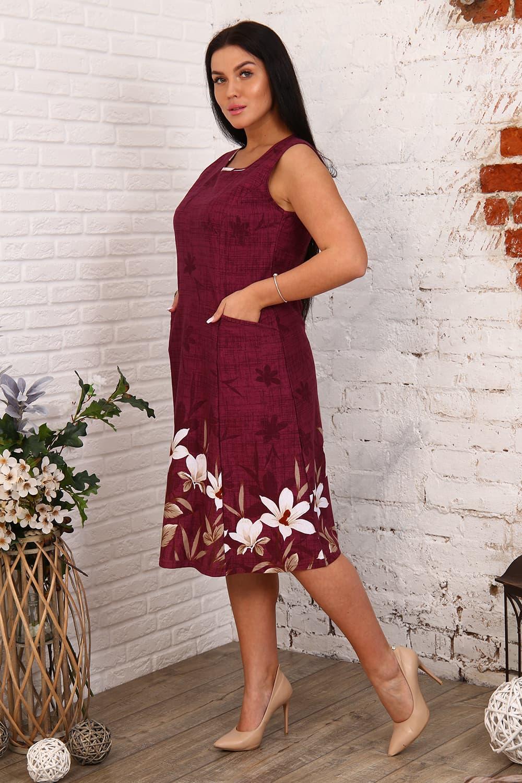 Бордовое хлопковое платье с карманами 27561
