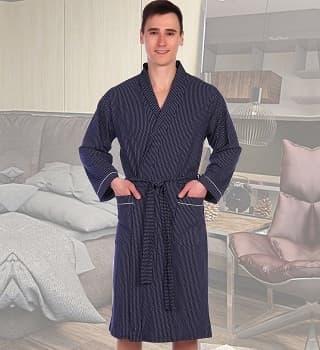 Хлопковый легкий халат с поясом
