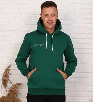Зеленая толстовка теплая мужская 16093