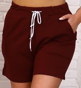 Бордовые женские шорты 23807