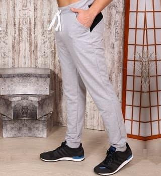 Спортивные брюки комбинированные серый меланж 15106