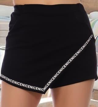 Черные шорты-юбка 12304