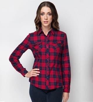 Рубашка в клетку с двумя накладными карманами 1507