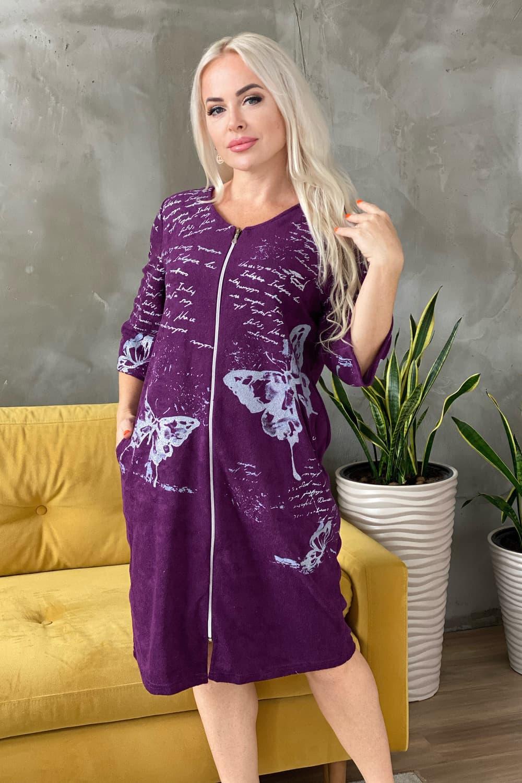 Фиолетовый махровый халат 7063