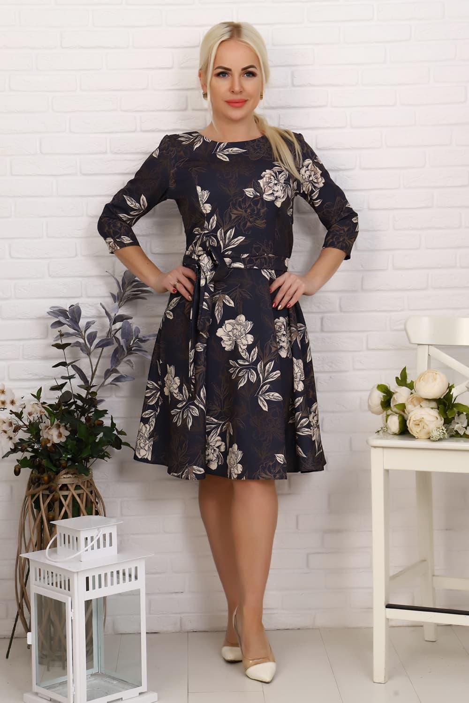 Платье миди с рукавом три четверти 20612