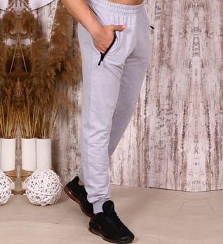 Штаны на манжетах серый-меланж 22156