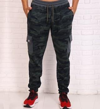 Штаны с накладными карманами по бокам теплые 16079