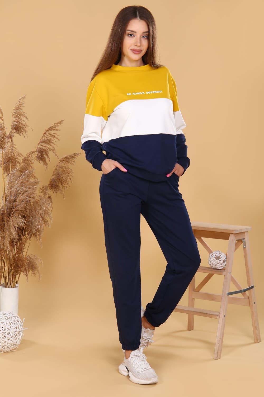 трикотажный женский костюм с брюками